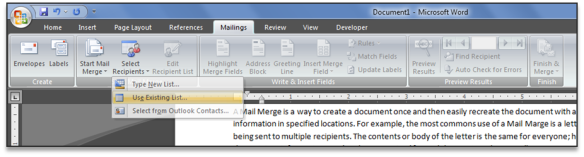 Mail Merge Select Existing Source